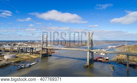 Aerial View Of The Cochrane Bridge Over Mobile River In Mobile, Alabama