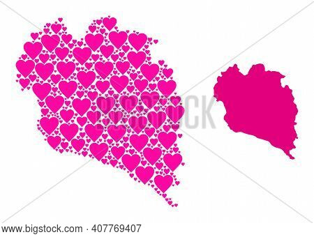 Love Collage And Solid Map Of Koh Phangan. Collage Map Of Koh Phangan Composed With Pink Lovely Hear