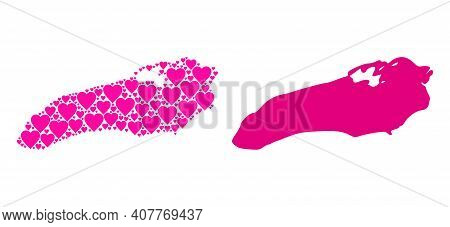 Love Mosaic And Solid Map Of Ontario Lake. Mosaic Map Of Ontario Lake Is Designed With Pink Love Hea