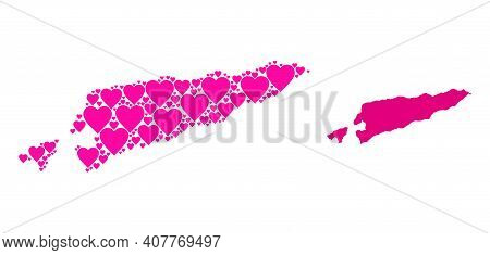 Love Collage And Solid Map Of East Timor. Collage Map Of East Timor Created From Pink Hearts. Vector