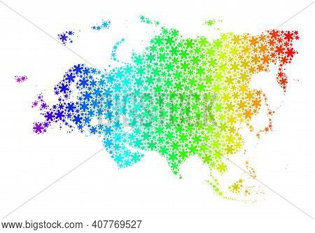 Bright Gradient Mosaic Of Europe And Asia Map Done For New Year Sales. Europe And Asia Map Mosaic Is