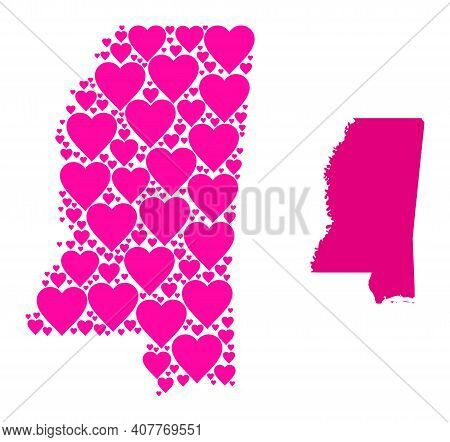 Love Mosaic And Solid Map Of Mississippi State. Mosaic Map Of Mississippi State Formed From Pink Lov