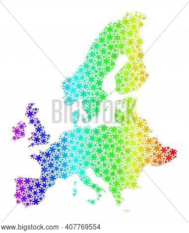 Bright Gradient Collage Of European Union Map Designed For New Year Ads. European Union Map Mosaic I