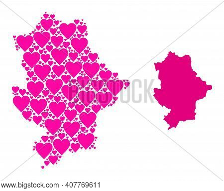 Love Pattern And Solid Map Of Donetsk Republic. Collage Map Of Donetsk Republic Is Designed With Pin