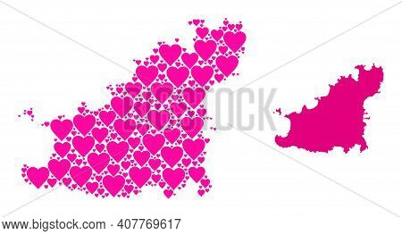 Love Mosaic And Solid Map Of Guernsey Island. Mosaic Map Of Guernsey Island Formed With Pink Love He