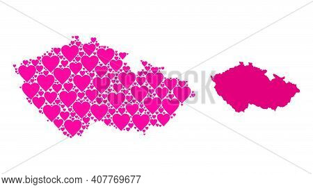 Love Collage And Solid Map Of Czech Republic. Collage Map Of Czech Republic Is Created From Pink Lov