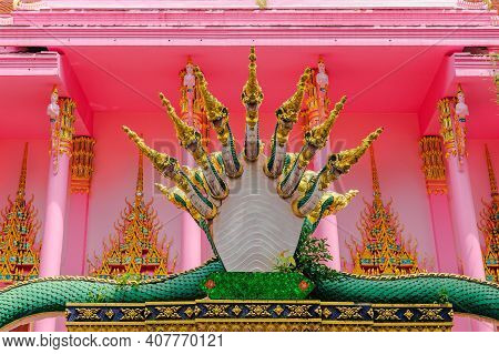 'naga' Mythological Giant Serpent Statue. Colorful And Intricate Details Of Serpent-like Statue Is C