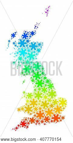 Spectrum Gradient Composition Of Great Britain Map Designed For New Year Sales. Great Britain Map Mo
