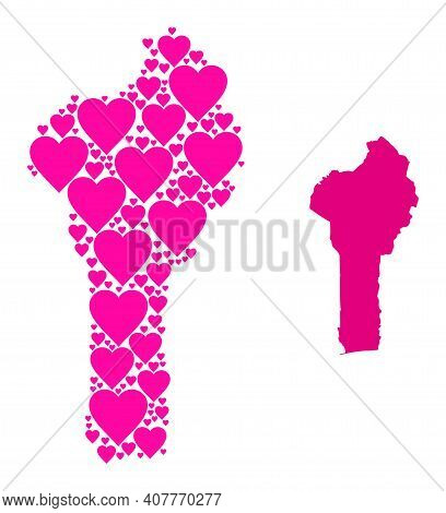 Love Collage And Solid Map Of Benin. Mosaic Map Of Benin Composed With Pink Love Hearts. Vector Flat