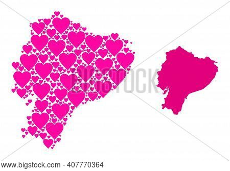 Love Mosaic And Solid Map Of Ecuador. Mosaic Map Of Ecuador Created From Pink Love Hearts. Vector Fl