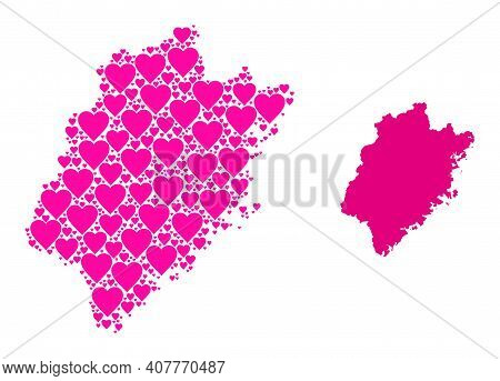 Love Pattern And Solid Map Of Fujian Province. Mosaic Map Of Fujian Province Is Formed From Pink Lov