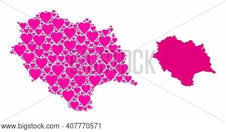 Love Collage And Solid Map Of Himachal Pradesh State. Collage Map Of Himachal Pradesh State Is Forme