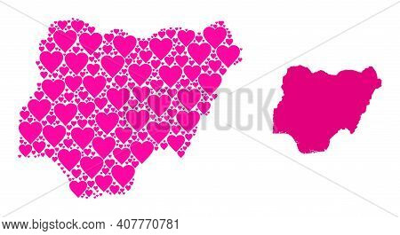 Love Collage And Solid Map Of Nigeria. Mosaic Map Of Nigeria Is Composed With Pink Love Hearts. Vect