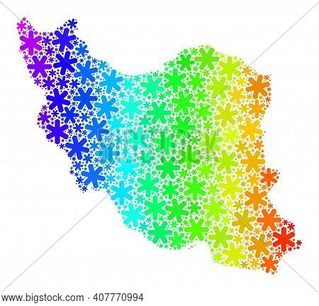Rainbow Gradient Collage Of Iran Map Done For Christmas Ads. Iran Map Mosaic Is Created From Bright