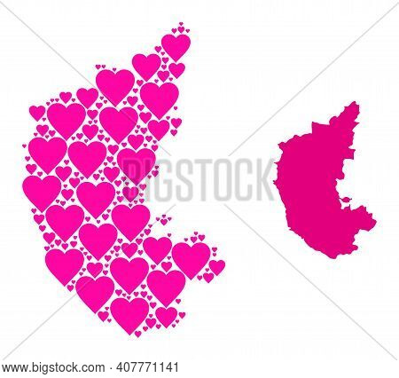 Love Collage And Solid Map Of Karnataka State. Mosaic Map Of Karnataka State Is Designed With Pink L
