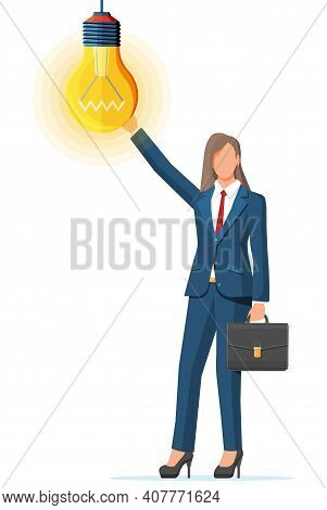 Businesswoman With Briefcase Creates New Idea. Concept Of Creative Idea Or Inspiration, Business Sta