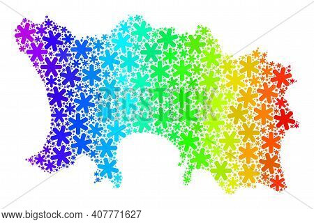Rainbow Gradient Mosaic Of Jersey Island Map Designed For New Year Celebration. Jersey Island Map Mo