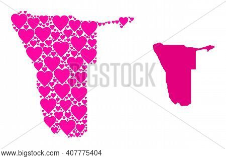 Love Pattern And Solid Map Of Namibia. Mosaic Map Of Namibia Created With Pink Lovely Hearts. Vector