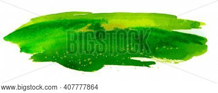 Summer meadow landscape . Abstract watercolor and acrylic flow blot smear painting. Green Color canvas texture horizontal long background.