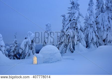 Winter landscape with snow igloo Eskimo in the mountain fir forest