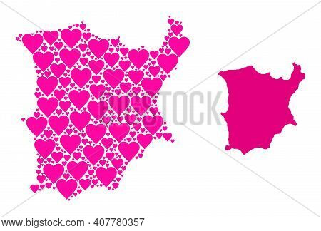 Love Collage And Solid Map Of Koh Samui. Collage Map Of Koh Samui Is Designed From Pink Valentine He