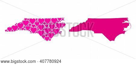 Love Collage And Solid Map Of North Carolina State. Collage Map Of North Carolina State Is Created W