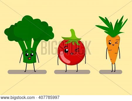 Vegetable Characters Vector. Cute Cartoon Vegetables. Funny Vegetable Carrot, Tomato, Broccoli Chara