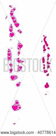 Love Pattern And Solid Map Of Maldives. Mosaic Map Of Maldives Created With Pink Love Hearts. Vector