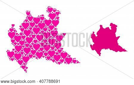 Love Collage And Solid Map Of Lombardy Region. Collage Map Of Lombardy Region Created From Pink Love
