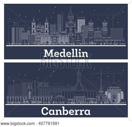 Outline Canberra Australia and Medellin Colombia City Skyline Set with White Buildings.