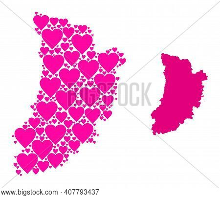 Love Pattern And Solid Map Of Lleida Province. Collage Map Of Lleida Province Created With Pink Love