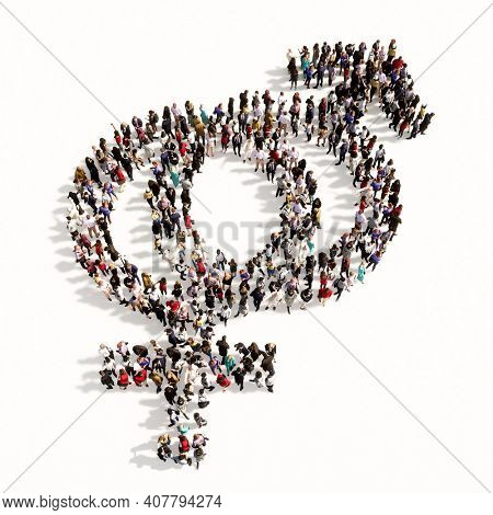 Concept or conceptual large gathering  of people forming the image of the gender signs on black background. A 3d illustration metaphor for heterosexual relationships, couples, romance and family
