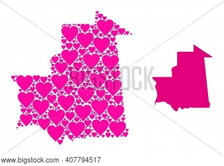Love Collage And Solid Map Of Mauritania. Mosaic Map Of Mauritania Formed With Pink Valentine Hearts