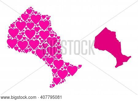 Love Mosaic And Solid Map Of Ontario Province. Mosaic Map Of Ontario Province Created With Pink Love