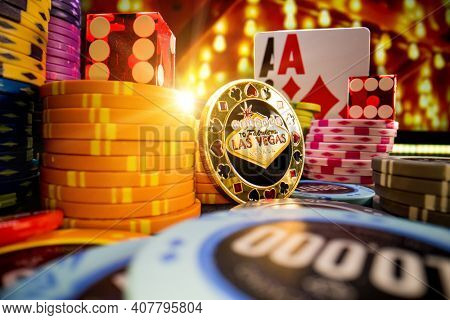 Casino set with cards, dice and chips on BlackJack mat