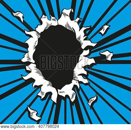 Comic book hole.  paper is torn through boom explosion. Circle hole in the middle on blue background. Comics style cover template or flyer wallpaper