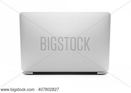 The back view of the new laptop isolated with clipping path on white background