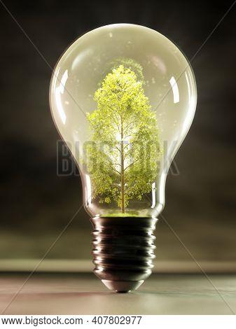 3D rendering of glowing green decidous tree growing inside lightbulb against dark background