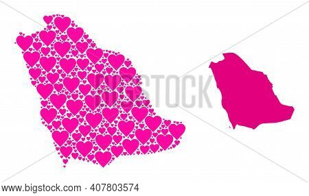 Love Collage And Solid Map Of Saudi Arabia. Collage Map Of Saudi Arabia Composed With Pink Lovely He