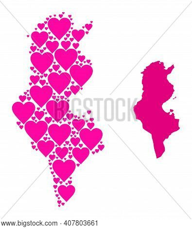 Love Collage And Solid Map Of Tunisia. Collage Map Of Tunisia Composed With Pink Lovely Hearts. Vect