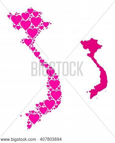 Love Collage And Solid Map Of Vietnam. Collage Map Of Vietnam Created With Pink Lovely Hearts. Vecto