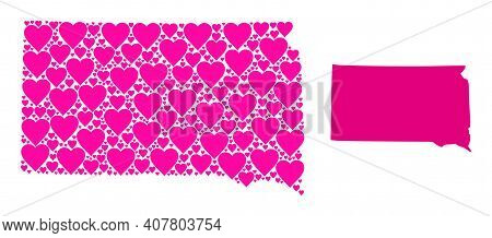 Love Mosaic And Solid Map Of South Dakota State. Mosaic Map Of South Dakota State Designed With Pink