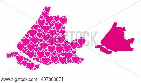 Love Collage And Solid Map Of South Holland. Collage Map Of South Holland Is Formed With Pink Love H