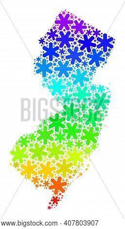 Bright Gradient Mosaic Of New Jersey State Map Constructed For Christmas Sales. New Jersey State Map