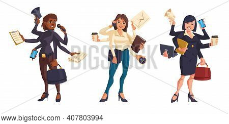 Business Women With Many Hands Isolated On White Background. Vector Cartoon Set Of Professional Lead