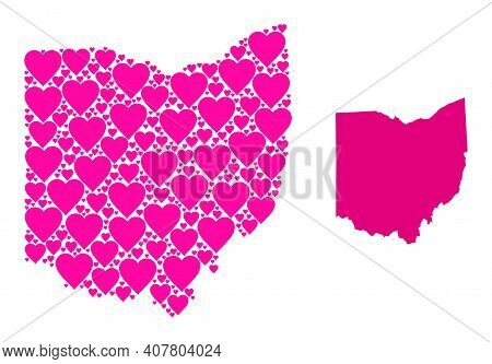 Love Mosaic And Solid Map Of Ohio State. Mosaic Map Of Ohio State Created From Pink Lovely Hearts. V