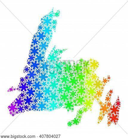 Bright Gradient Mosaic Of Newfoundland Island Map Designed For Christmas Ads. Newfoundland Island Ma
