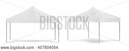 White Folding Promotion Tent, Outdoor Mobile Marquee For Marketing Exhibition Or Trade In Front And
