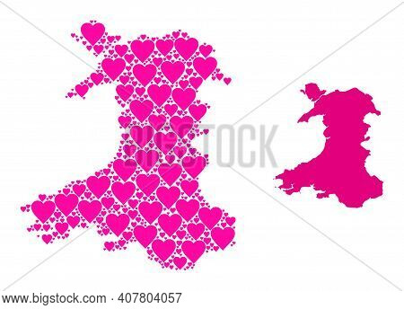 Love Collage And Solid Map Of Wales. Collage Map Of Wales Is Formed With Pink Love Hearts. Vector Fl