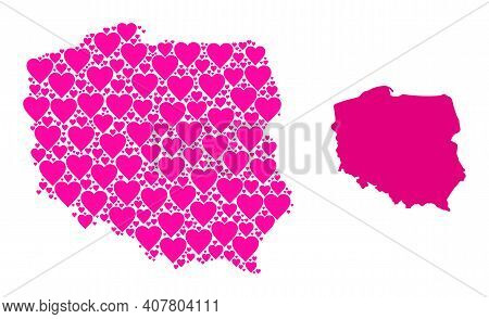 Love Mosaic And Solid Map Of Poland. Mosaic Map Of Poland Is Composed With Pink Love Hearts. Vector